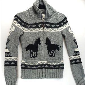 TNA aritizia horse wool logo zip sweater